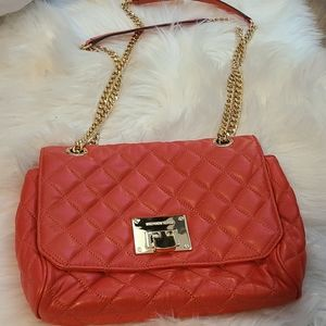 Deep Coral michael kors quilted chain bag